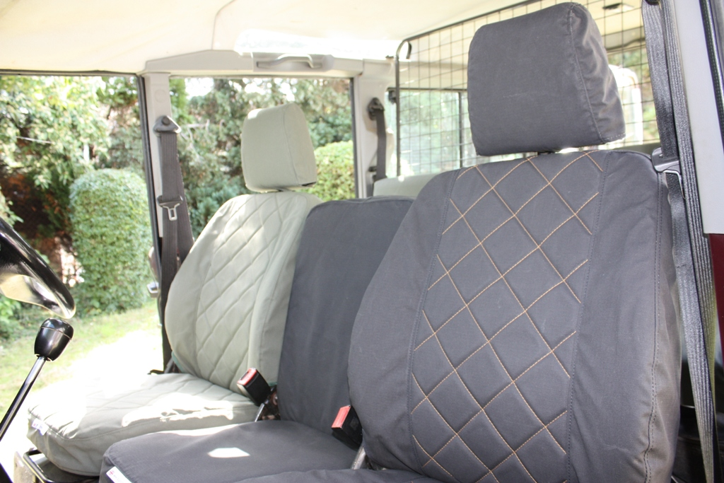 Front Seat Cover - Midnight Black - Quilted Pattern (with Orange Stitch Option)
